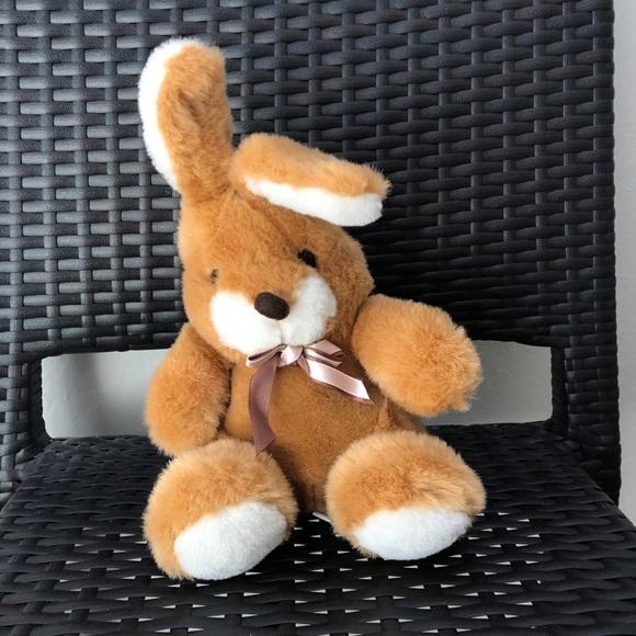 vintage brown bunny stuffed animal plush toy
